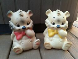 2 Vintage Ashland Rubber Company White Bear Squeak Squeeze Toy Turquoise Bow