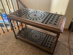 Antique 1800and039s Billiards Cue Rack-table From Colorado Pool Hall- Handmade -rare