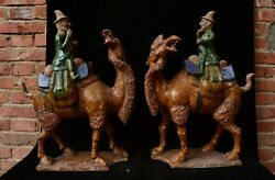 18 Old China Tang Sancai Pottery Dynasty Desert Boat Camel People Statue Pair