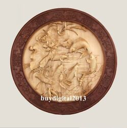 Basswood Auspicious Lotus Pond Carp Fish Wall Hanging Wood Tablet Plaque Board