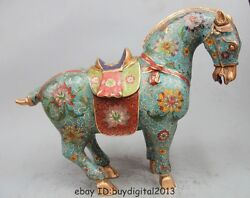 16 China Royal Palace Bronze Copper Cloisonne Lucky War-horse Tang Horse Statue