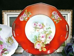 Hutschenreuther Stunning Roses Painted Plate Pink White Rose Charger German