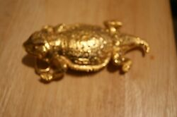 Rare 1987 Gold Tone Pewter Horned Lizard Toad 4 1/2 Inch Belt Buckle New