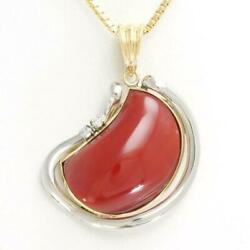 Platinum 900 18k Yellow Gold Necklace Oxblood Coral Diamond Free Shipping Used