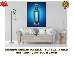 Bombay Sapphire Gin Bottle Art Large Poster Print Gift A0 A1 A2 A3 A4 Maxi