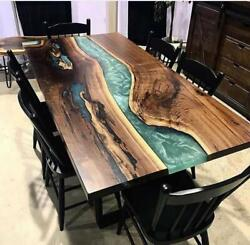 Epoxy Resin Dining Table Top Live Edge Acacia Wood River Table Modern Furniture