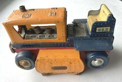 Vintage Nomura Japanese Tin Toy Battery Operated Tractor For Parts Repair