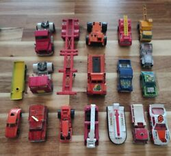 Vintage Matchbox Lesney Lot 18 Cars Trucks Firetruck Tootsie Toy Tonka 70and039s 80and039s