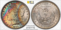 1883-o Morgan Dollar Pcgs Ms66+ Ultra Colorful High End Lustrous Rainbow Toned