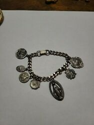 Vintage Charm Bracelet With Sterling Silver Religious Charms