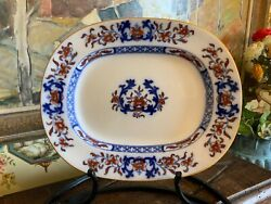 Antique English Minton Blue And White 19thc Platter 13 Inches Circa 1880