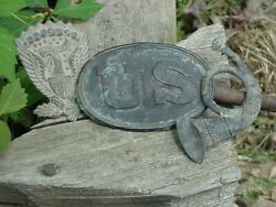 Civil War Us Buckle Or Plate /and Hat Badge And Bugle Vintageandnbsp 3 Itemsandnbsp