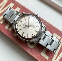 Vintage Rolex Air King 5500 Precision Automatic Silver Dial 34mm Steel Watch