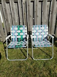 Vintage Vtg 2 Webbed Aluminum Folding Lawn Chairs Outdoor Patio Furniture Stripe
