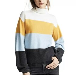 Veronica Beard Faber Mock Neck Striped Cashmere Pullover Sweater Size Large