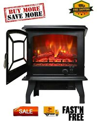 1400w Small Electric Fireplace, Indoor Free Standing Stove Heater Adjustable