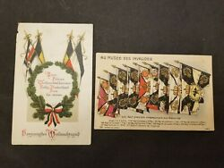 Germany France Ww1 Postcards National And Battle Flags 2 Cards -free Ship