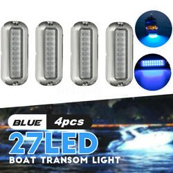 4x 3.5and039and039 W/ 316ss Cover Blue 27led Underwater Pontoon Marine/boat Transo //