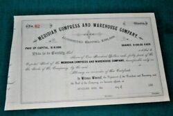 S359,unc Meridianmiss Compress And Warehouse Co. Stock 1880's 82 Rare
