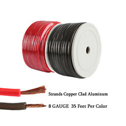 Stranded Truck Power Ground Cable 35ft Ea Copper Clad Amp Primary Wire 8ga Gauge