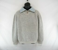 Hermes Menand039s 100cashmere 1/4 Zip Heavy Knit Sweater Made In Italy Size L Ca476