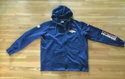Onfield Apparel Broncos Therma-fit Front Zipper Blue Hoodie Jacket Xl