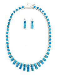 Native American Sterling Silver Navajo Turquoise Inlay Necklace Set