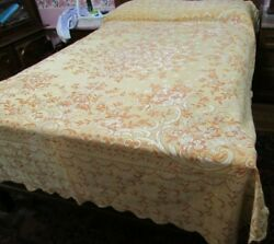 Vintage Gold Brocade Tapestry Embroidered Italy Full Bedspread 96x78 Scalloped