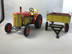 Vintage Zetor Tin Wind-up Toy Tractor And Trailer - Missing Key