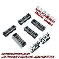 Boat Marine 5 Sets 15a 600v Double Rows 6 Positions Screw Barrier Terminal Block