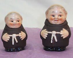 Salt And Pepper Shakers, Goebel Monks, West Germany. Free Ship
