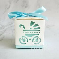 Babyand039s Day Out Carriage Pram Baby Shower Christening Favour Gift Box Blue