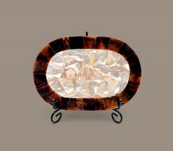 Random Art Marble Food Serving Tray Mop Inlaid Stone Art Collectible Gift Decor