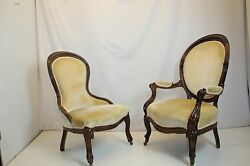 Antique Pair Of Victorian Rosewood Ladies And Gentleman Chairs Circa 1880's