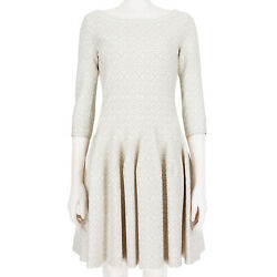 Alaia White Shimmering Taupe Fit And Flare Dress Fr40 Uk12