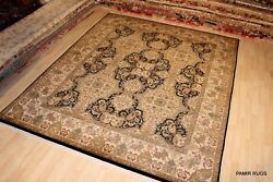 Fine Quality Handmade Hand Knotted 8x10 Ft. Rug Black And Gold Sage Green Carpet