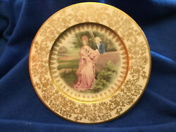 Atlas China Watteau Series 22 Kt Gold Trim Colonial Courting Couple Plate 10 3/4