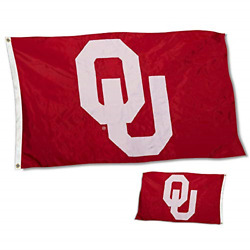 College Flags And Banners Co. Oklahoma Sooners Double Sided Nylon Embroidered Flag