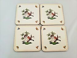 Pimpernel Square Corkback Coasters Rothschild Bird By Herend Set Of 4