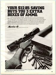 Marlin Rifle Boxes Of Ammo Vintage 1970's 8.25 X 11 Magazine Ad M11
