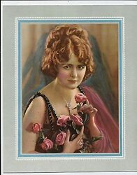 Vintage 1920and039s Calendar Top Print Of Woman Holding Pink Roses