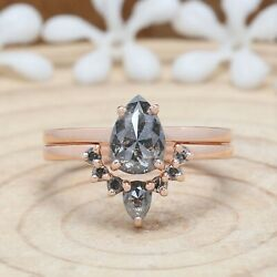 1.15 Ct Salt And Pepper Ring, Pear Cut Diamond Ring, Engagement Ring, Kdn718