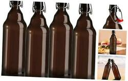 4 Pack Amber Glass Beer Bottle, 32oz Swing Top Glass Bottles With Airtight