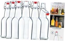 Glass Swing Top Beer Bottles - 16 Ounce 6 Pack Grolsch Bottles, With Clear