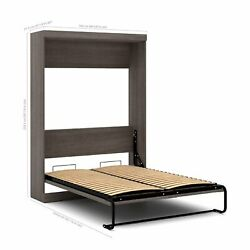 Full Size Wall Bed In Bark Gray Color Luxury Beds Frame For Bedroom Space Saving
