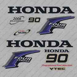 Honda 90 Hp Four Stroke Outboard Engine Decal Sticker Set Reproduction Vtec 90hp