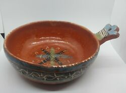 Vintage Mexican Red Clay Pottery Bowl With Handles Worn Nesting Distressed 9.5