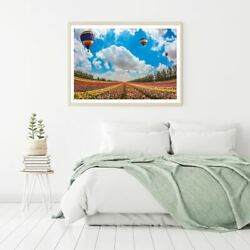 Hot Baloons Over Flower Field Print Premium Poster High Quality Choose Sizes
