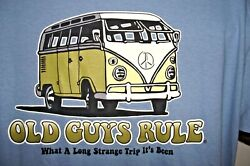 Old Guys Rule Med. Blue Mens L What A Long Strange Trip Its Been T Shirt Nwt