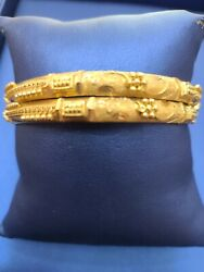 22kt Designer Gold Bangles Pair With High Polish In Solid Gold